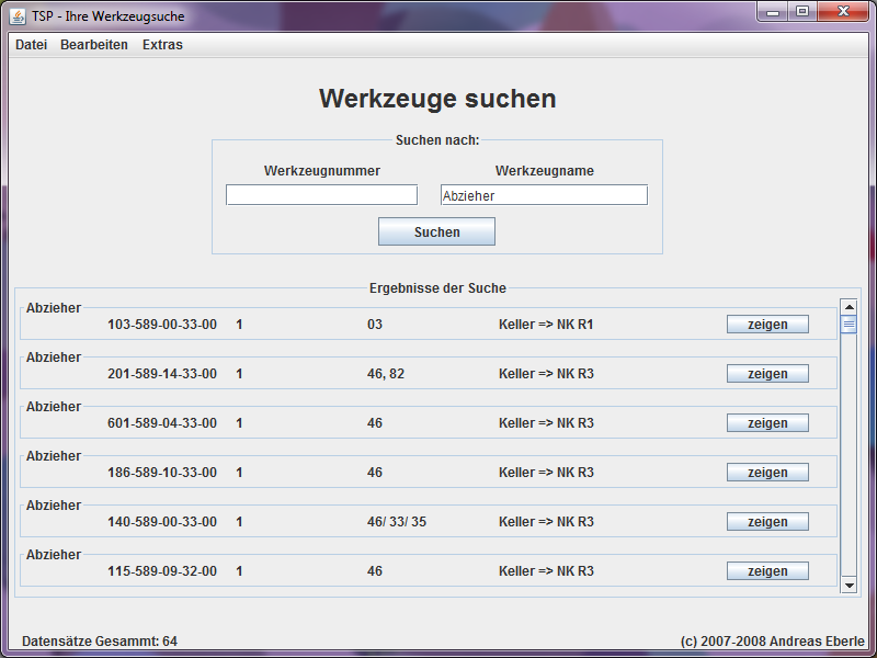 """Image of the search for """"Abzieher"""" with TSP warehousing software."""