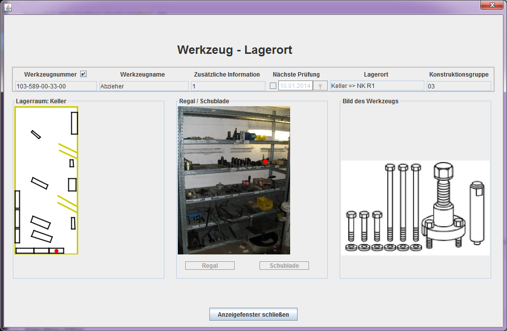 Image of tool details view of TSP warehousing software.