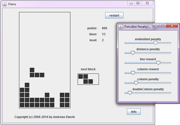 Screenshot of Tetris Bot with settings for evaluation criteria