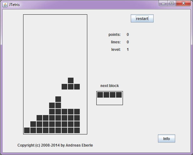 Screenshot of the Tetris game