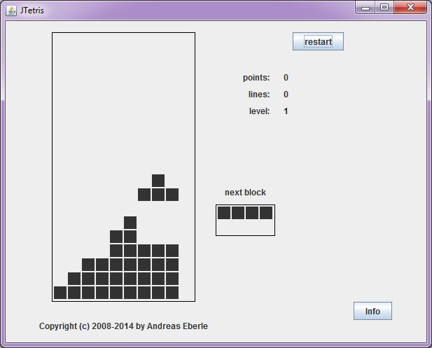Screenshot of the Tetris game